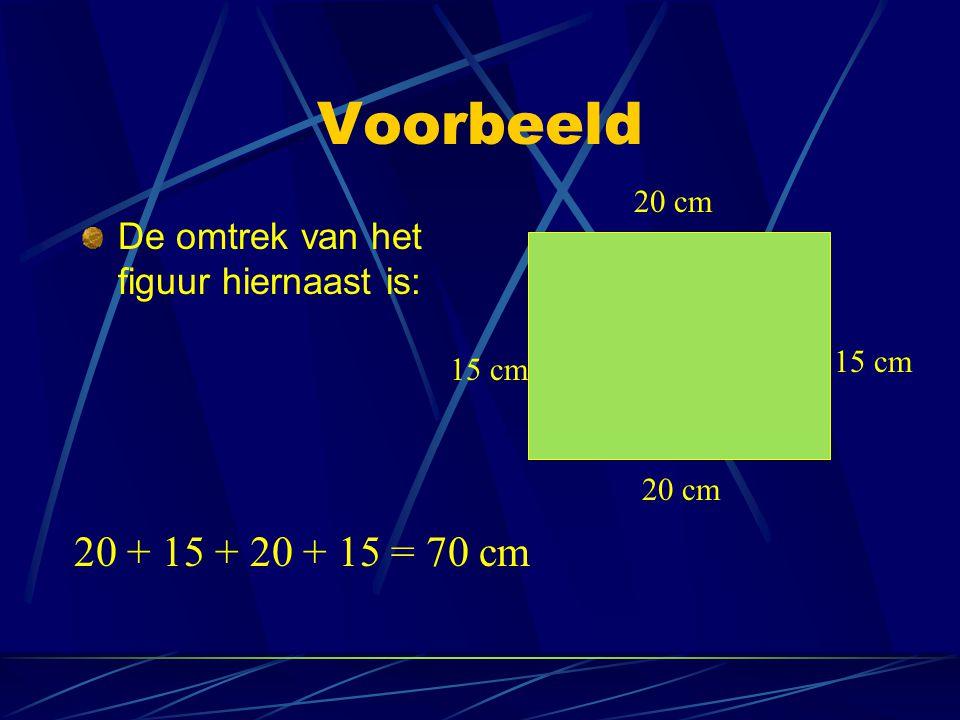 Voorbeeld 20 cm De omtrek van het figuur hiernaast is: 15 cm 15 cm 20 cm 20 + 15 + 20 + 15 = 70 cm