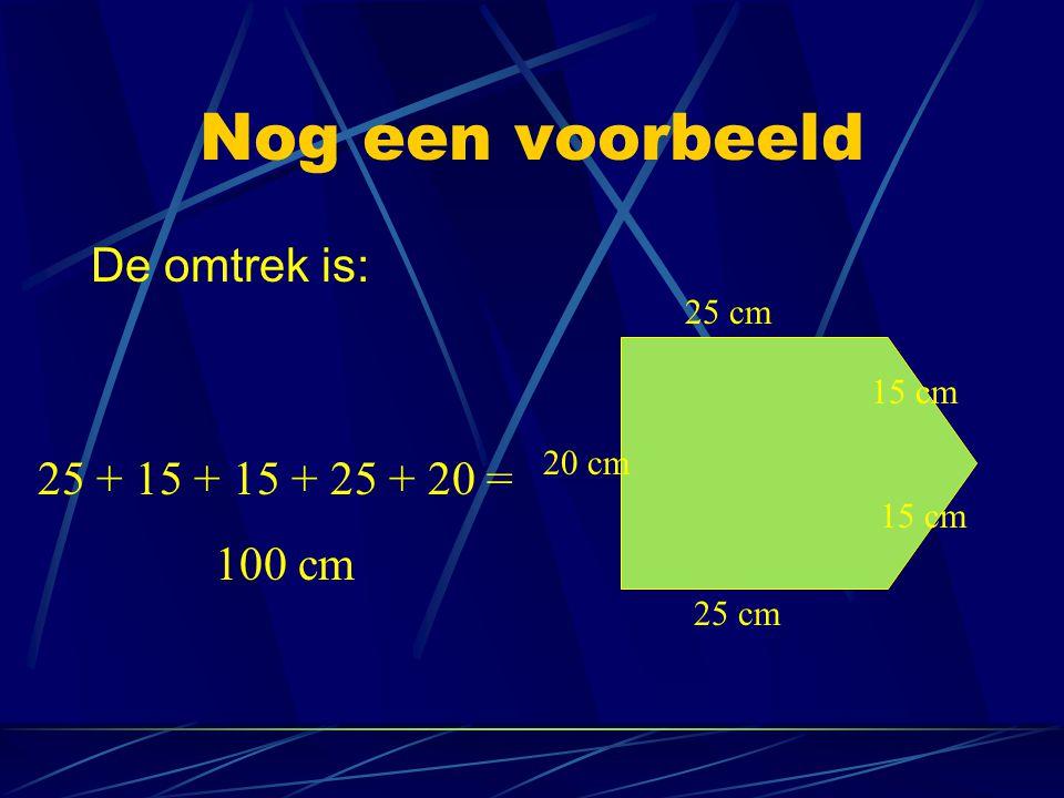 Nog een voorbeeld De omtrek is: 25 + 15 + 15 + 25 + 20 = 100 cm 25 cm