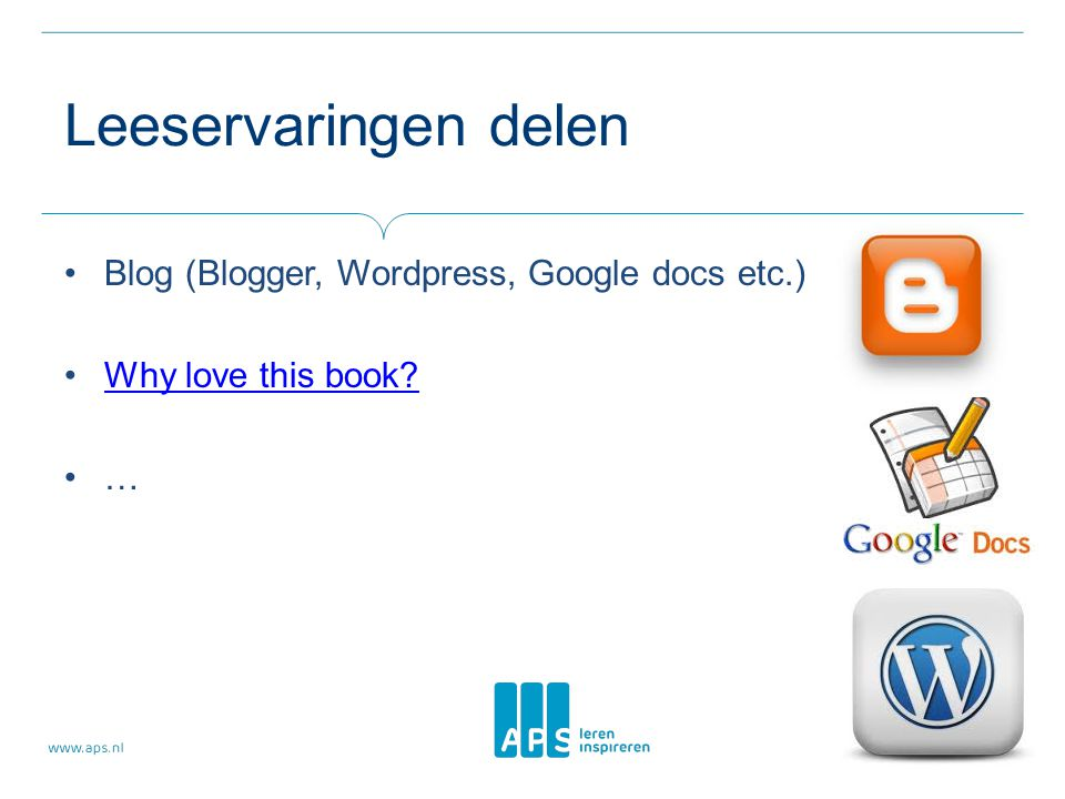 Leeservaringen delen Blog (Blogger, Wordpress, Google docs etc.)