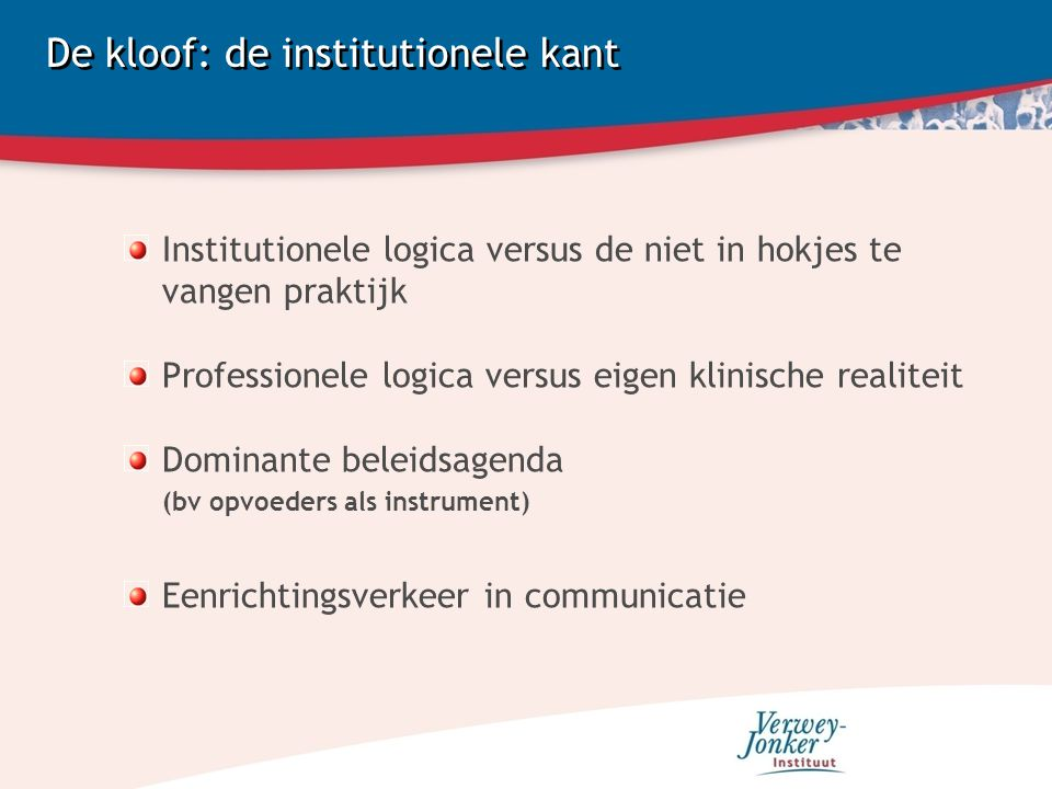 De kloof: de institutionele kant