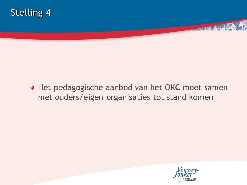 Stelling 4 Het pedagogische aanbod van het OKC moet samen met ouders/eigen organisaties tot stand komen.