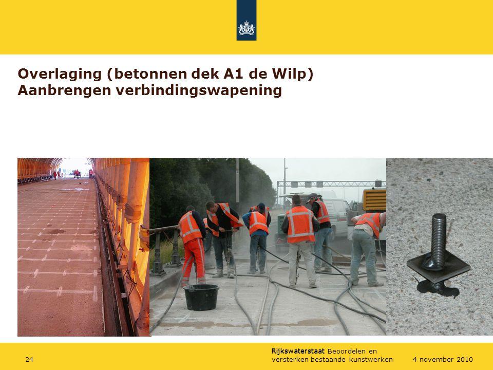 Overlaging (betonnen dek A1 de Wilp) Aanbrengen verbindingswapening