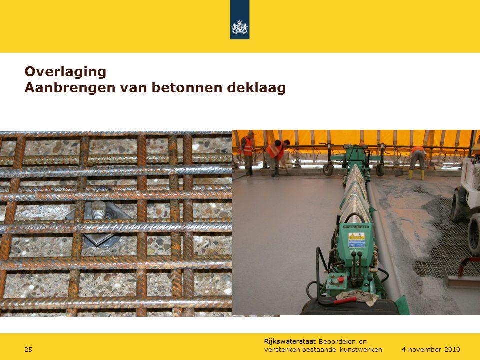 Overlaging Aanbrengen van betonnen deklaag