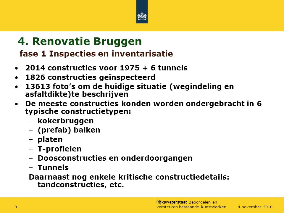 4. Renovatie Bruggen fase 1 Inspecties en inventarisatie