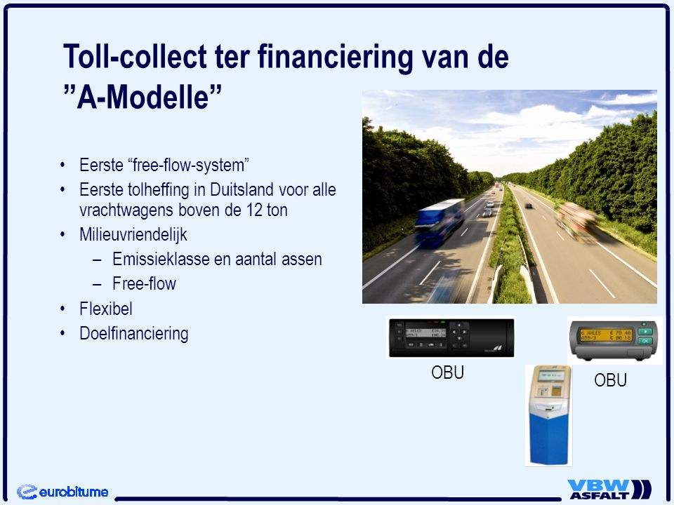 Toll-collect ter financiering van de A-Modelle