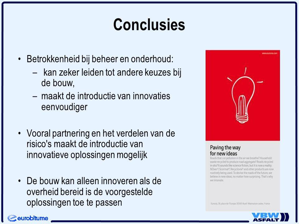Conclusies Betrokkenheid bij beheer en onderhoud: