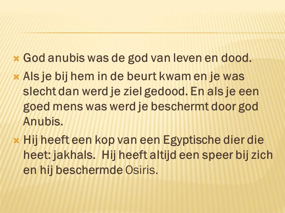 God anubis was de god van leven en dood.