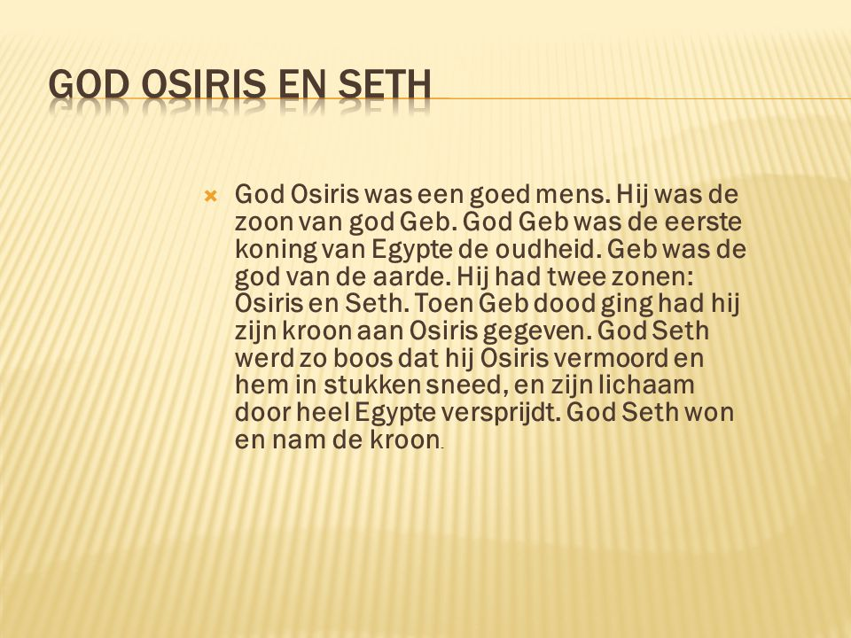 God Osiris en Seth