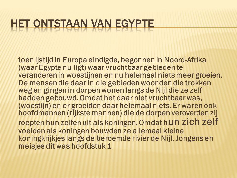 Het ontstaan van Egypte