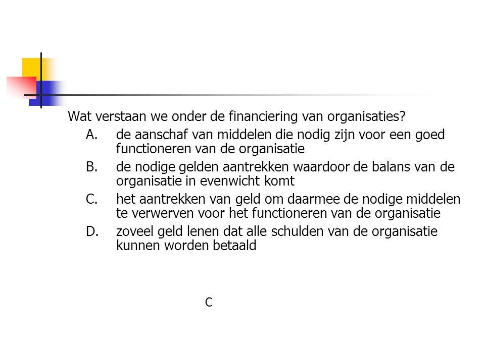 Wat verstaan we onder de financiering van organisaties