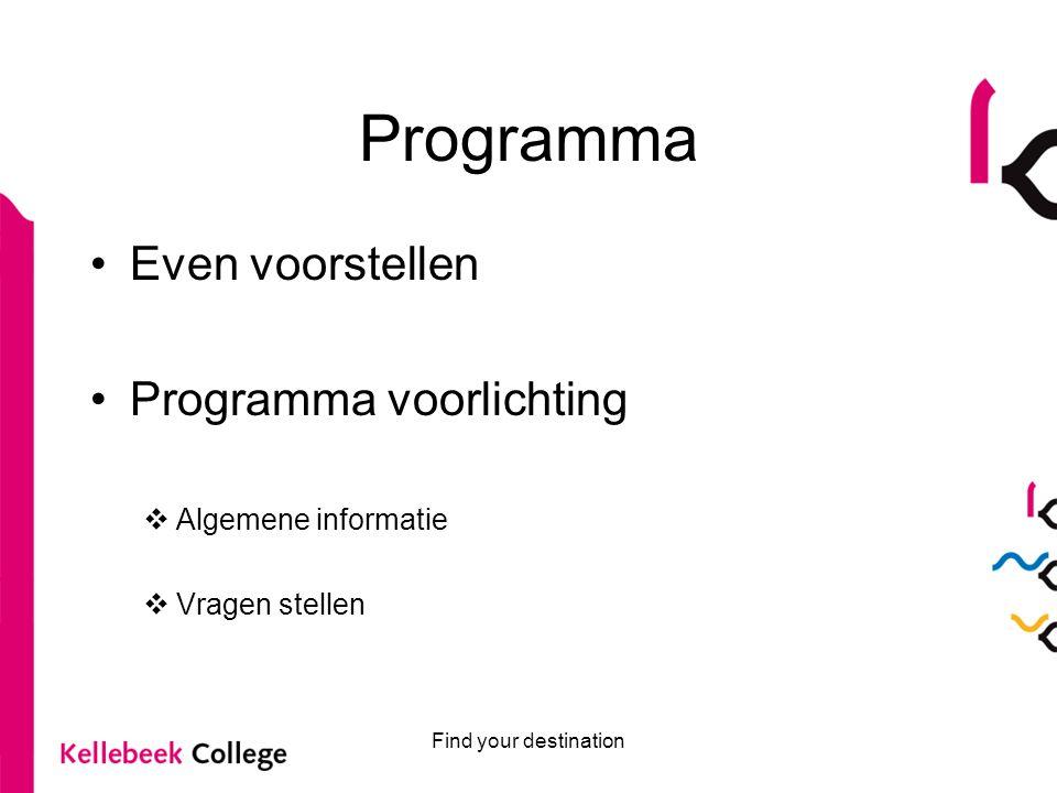 Programma Even voorstellen Programma voorlichting Algemene informatie