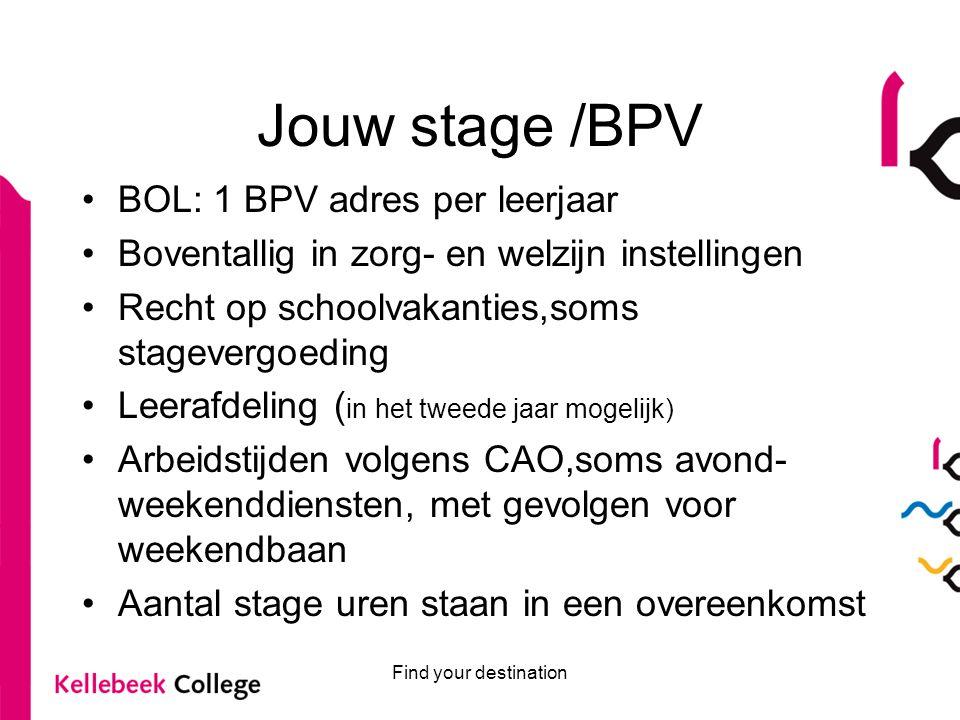 Jouw stage /BPV BOL: 1 BPV adres per leerjaar