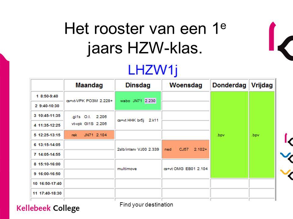 Het rooster van een 1e jaars HZW-klas.