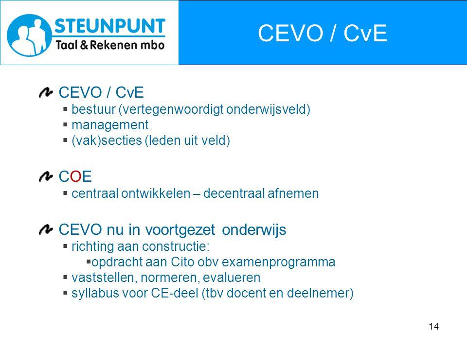 CEVO / CvE CEVO / CvE COE CEVO nu in voortgezet onderwijs