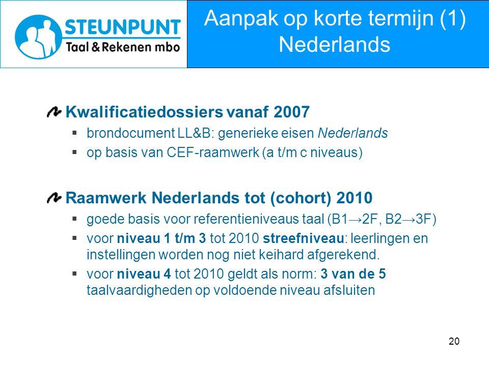 Aanpak op korte termijn (1) Nederlands