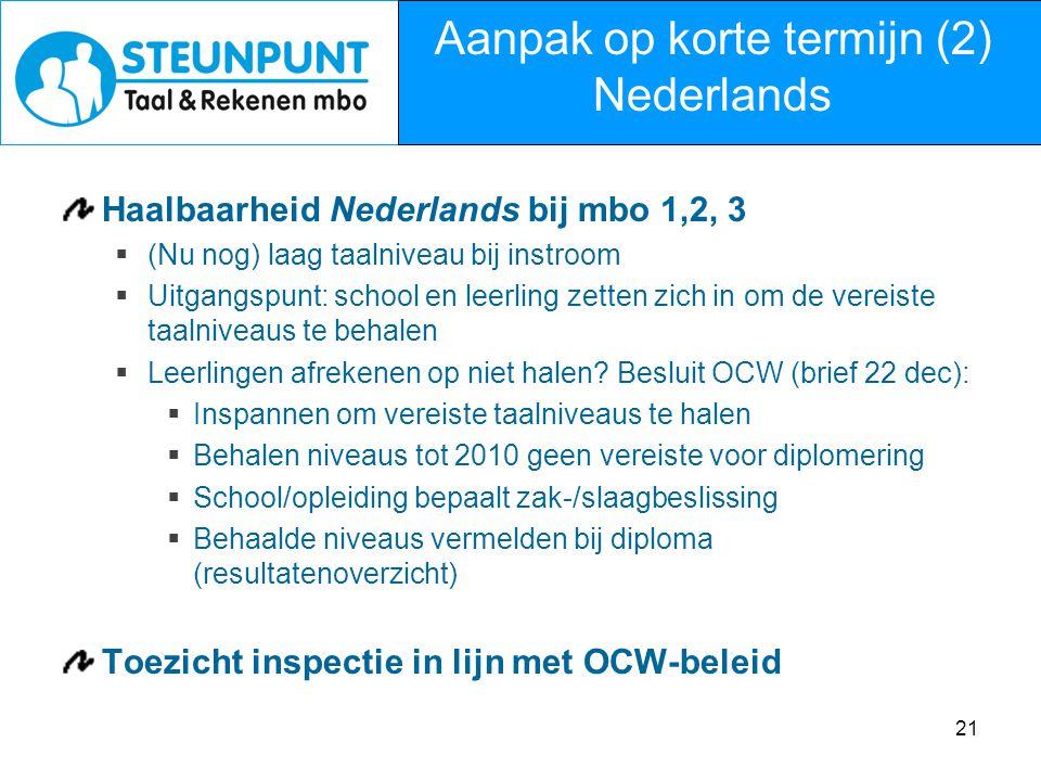 Aanpak op korte termijn (2) Nederlands