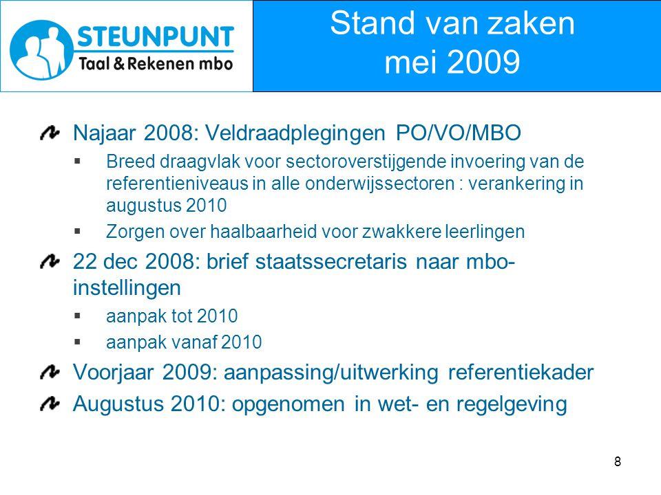 Stand van zaken mei 2009 Najaar 2008: Veldraadplegingen PO/VO/MBO