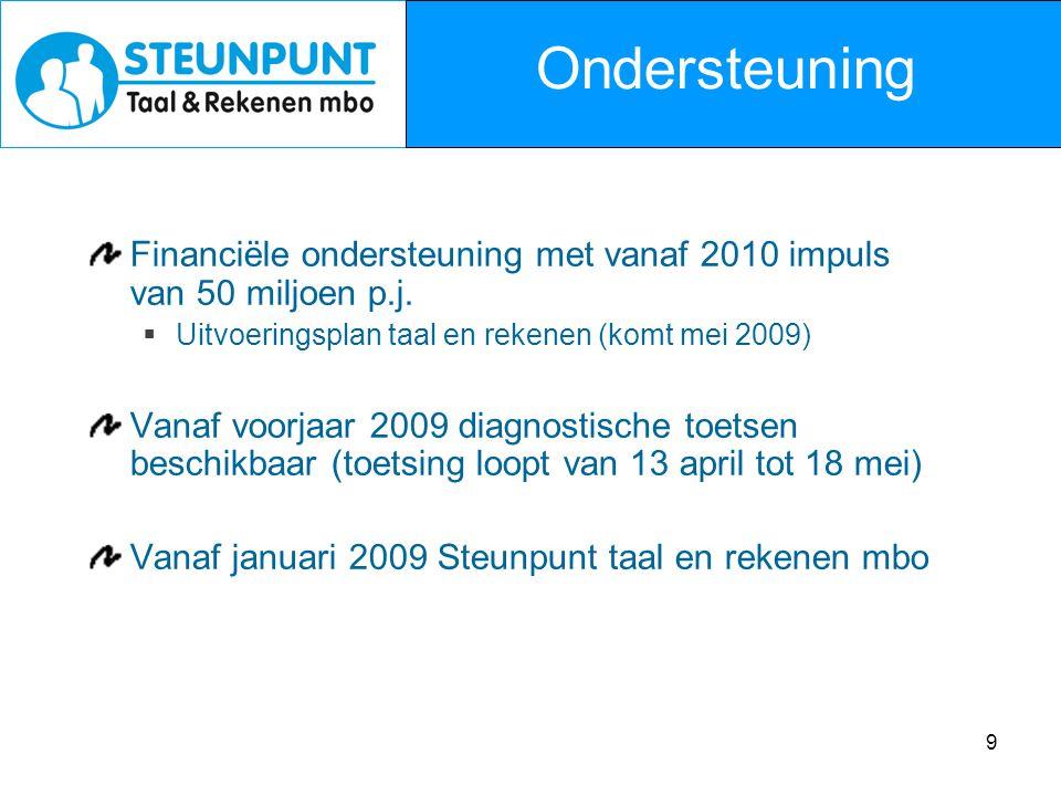 Ondersteuning Financiële ondersteuning met vanaf 2010 impuls van 50 miljoen p.j. Uitvoeringsplan taal en rekenen (komt mei 2009)