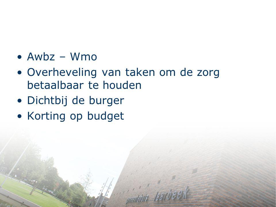 Awbz – Wmo Overheveling van taken om de zorg betaalbaar te houden.