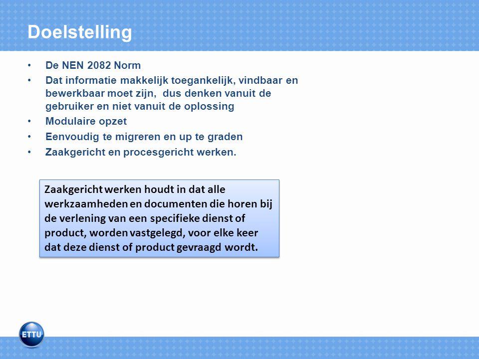 Doelstelling De NEN 2082 Norm.