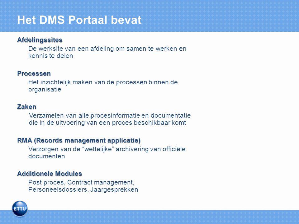 Het DMS Portaal bevat Afdelingssites