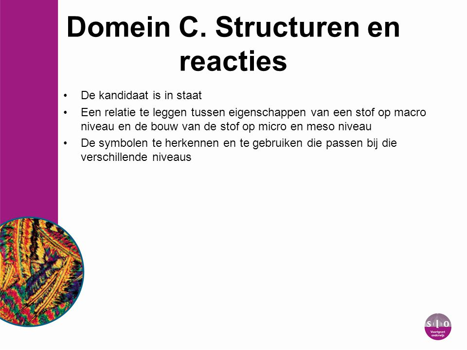 Domein C. Structuren en reacties