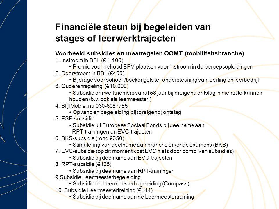 Financiële steun bij begeleiden van stages of leerwerktrajecten