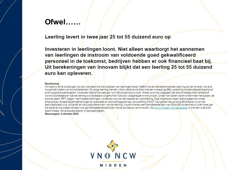 Ofwel…… Leerling levert in twee jaar 25 tot 55 duizend euro op