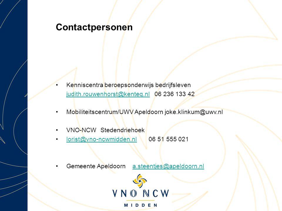 Contactpersonen Kenniscentra beroepsonderwijs bedrijfsleven