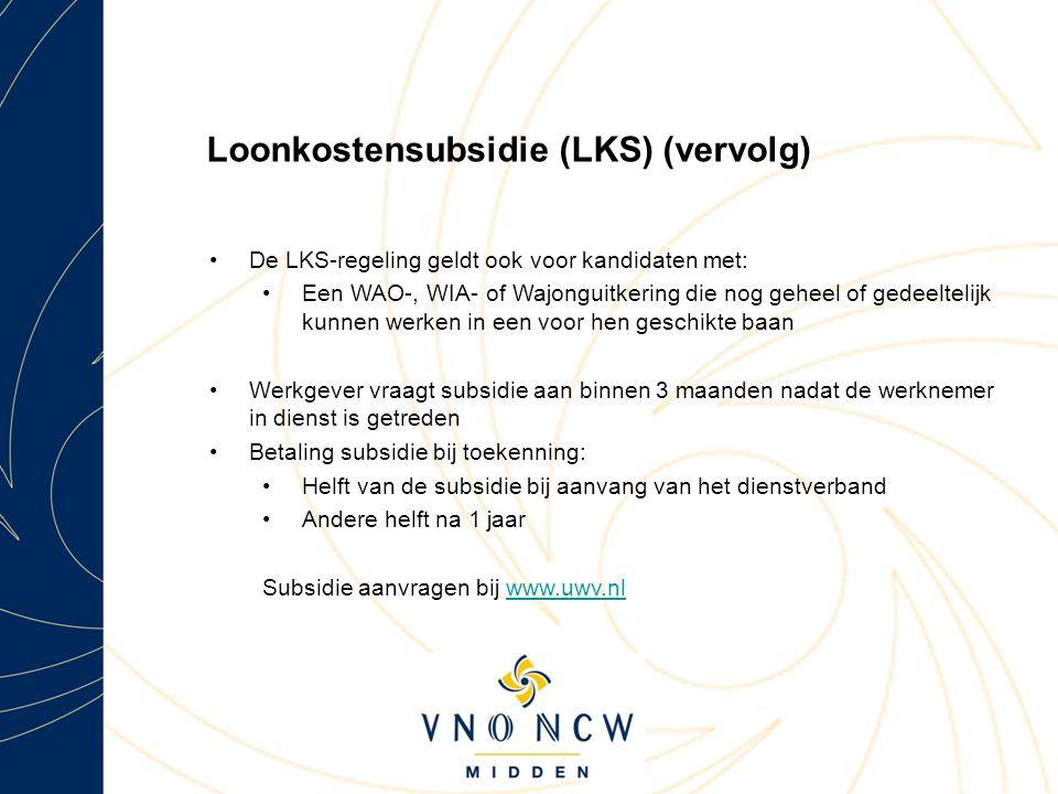 Loonkostensubsidie (LKS) (vervolg)
