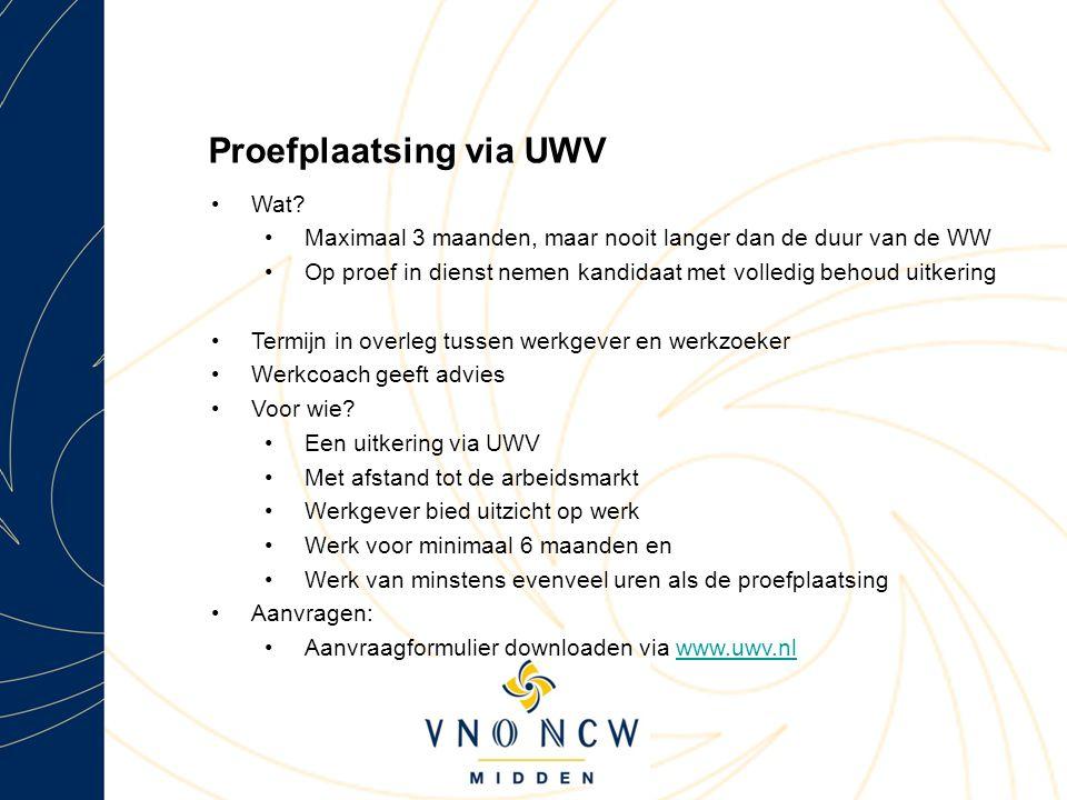 Proefplaatsing via UWV