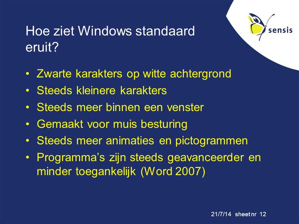 Hoe ziet Windows standaard eruit