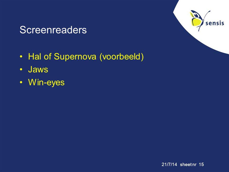 Screenreaders Hal of Supernova (voorbeeld) Jaws Win-eyes