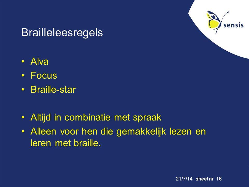 Brailleleesregels Alva Focus Braille-star