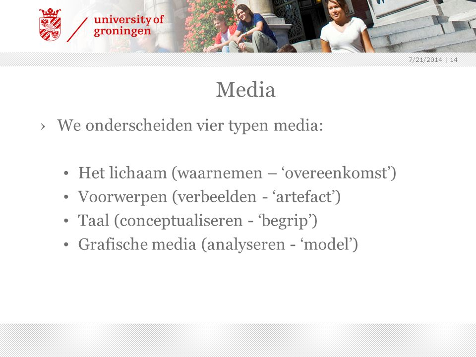 Media We onderscheiden vier typen media: