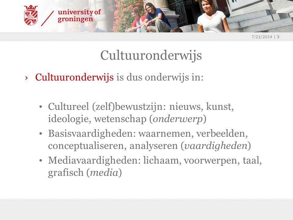 Cultuuronderwijs Cultuuronderwijs is dus onderwijs in: