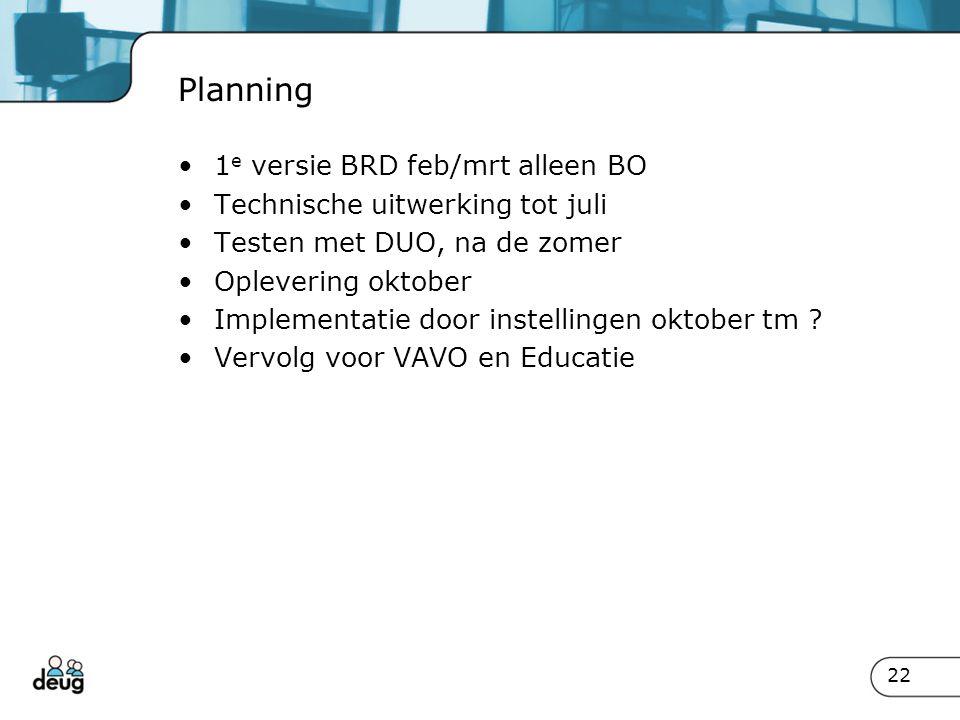 Planning 1e versie BRD feb/mrt alleen BO