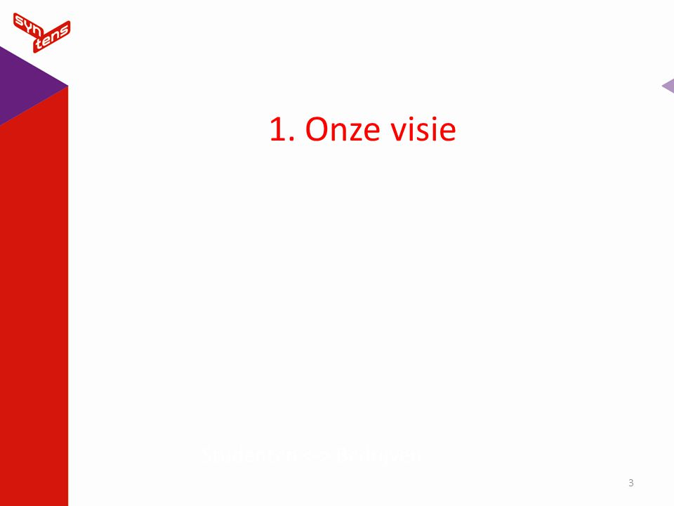 1. Onze visie Studenten <-> Bedrijven Koptekst 4-4-2017