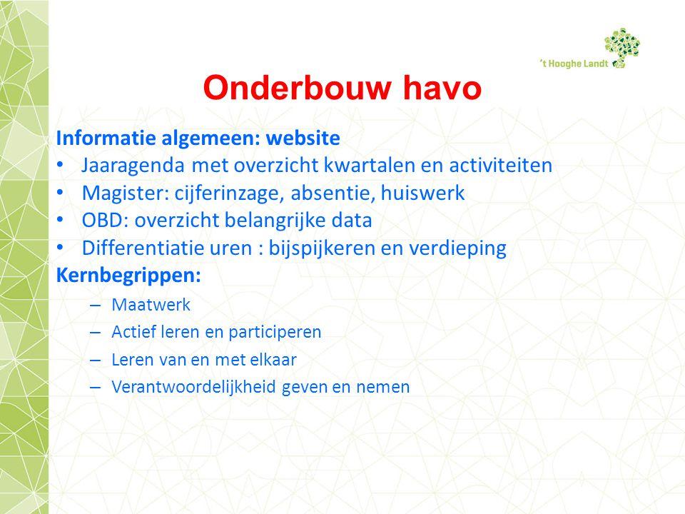 Onderbouw havo Informatie algemeen: website