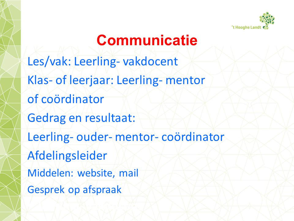Communicatie Les/vak: Leerling- vakdocent