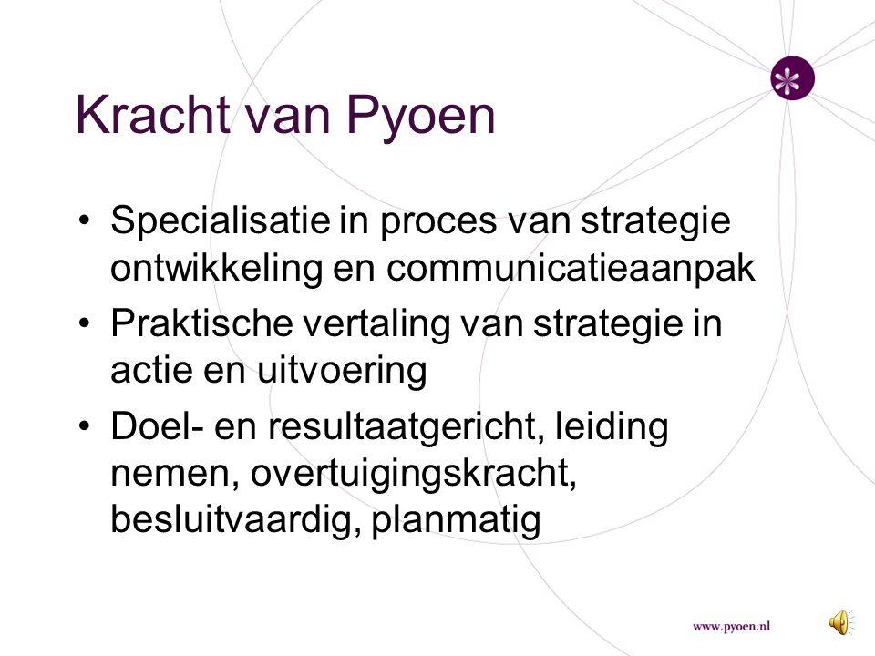 Kracht van Pyoen Specialisatie in proces van strategie ontwikkeling en communicatieaanpak. Praktische vertaling van strategie in actie en uitvoering.
