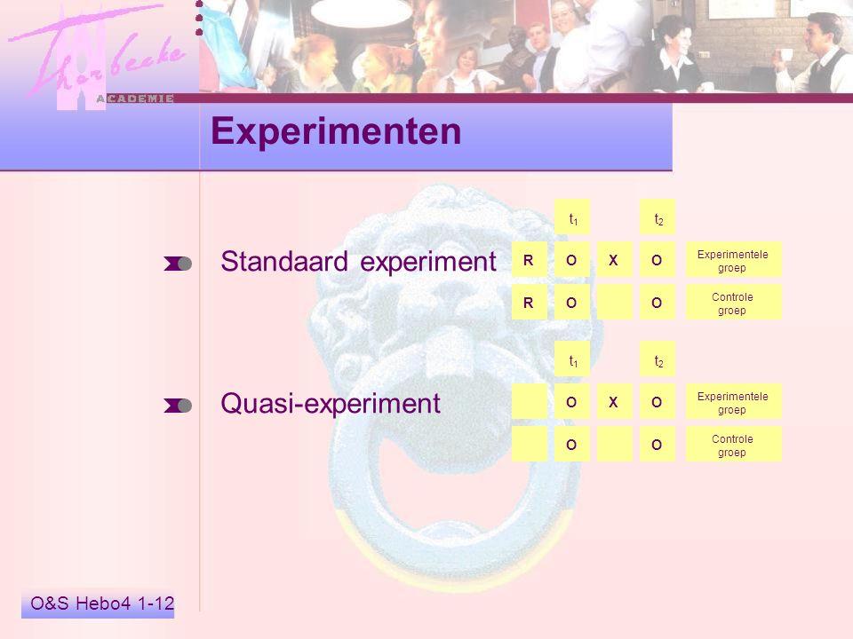 Experimenten Standaard experiment Quasi-experiment O&S Hebo4 1-12 X t