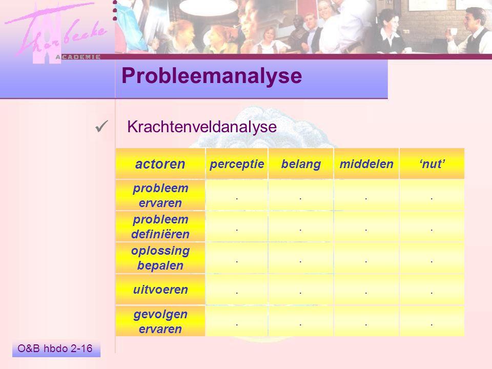 Probleemanalyse  Krachtenveldanalyse actoren perceptie belang