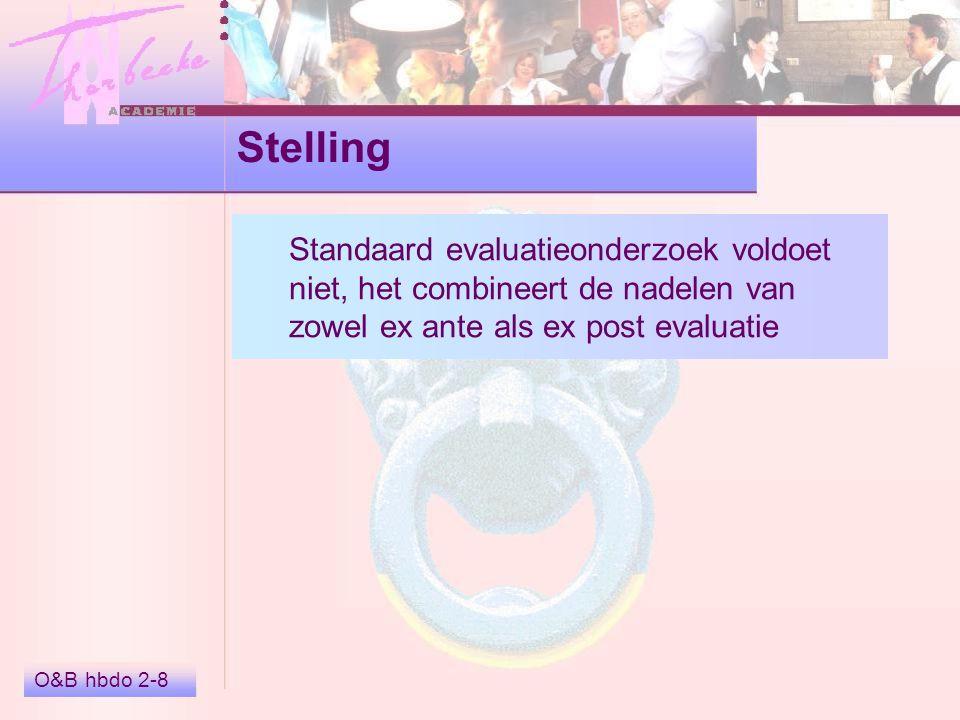 Stelling Standaard evaluatieonderzoek voldoet niet, het combineert de nadelen van zowel ex ante als ex post evaluatie.