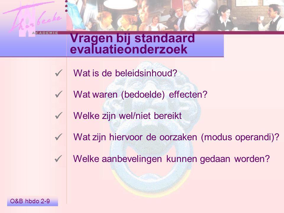 Vragen bij standaard evaluatieonderzoek