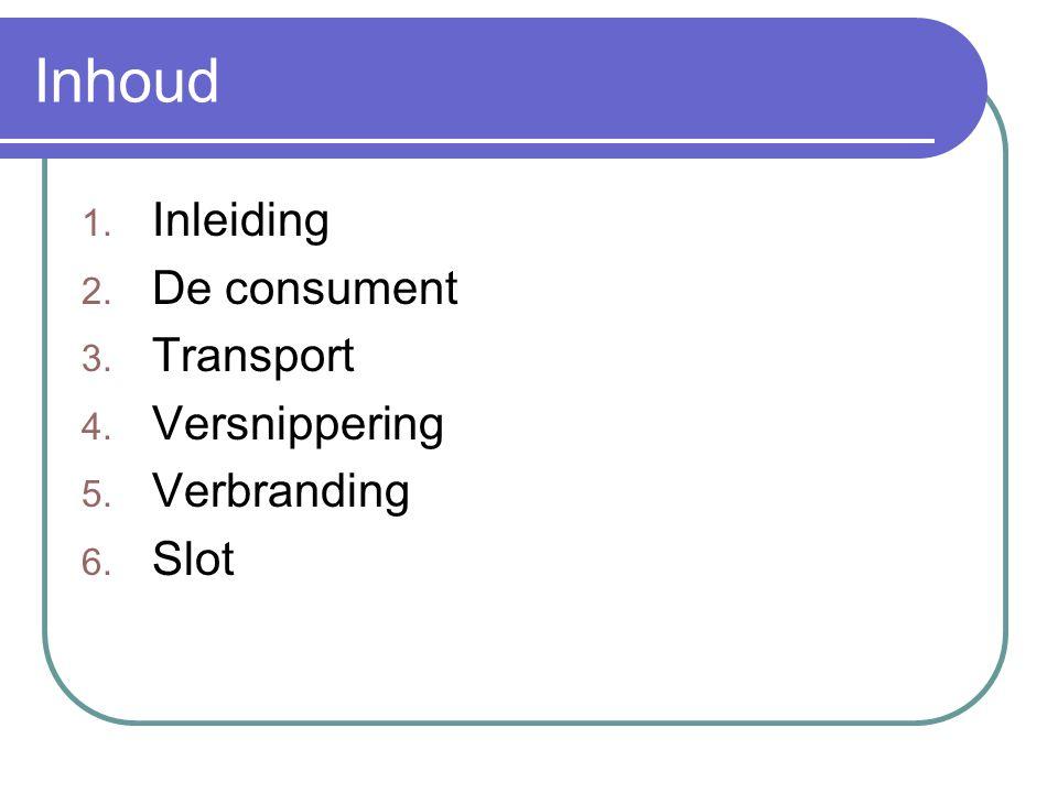 Inhoud Inleiding De consument Transport Versnippering Verbranding Slot