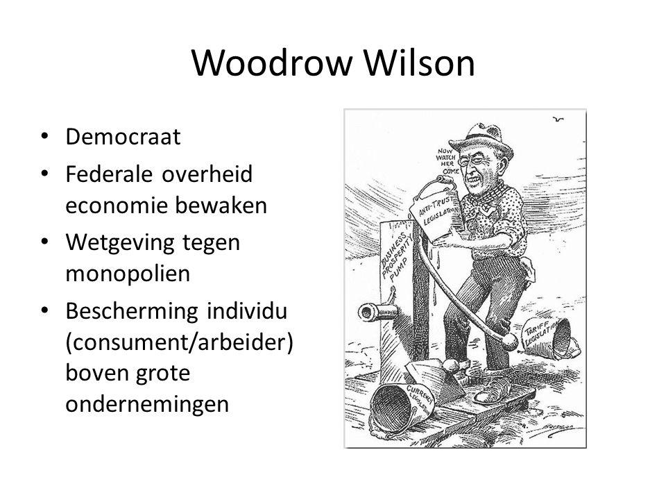 Woodrow Wilson Democraat Federale overheid economie bewaken