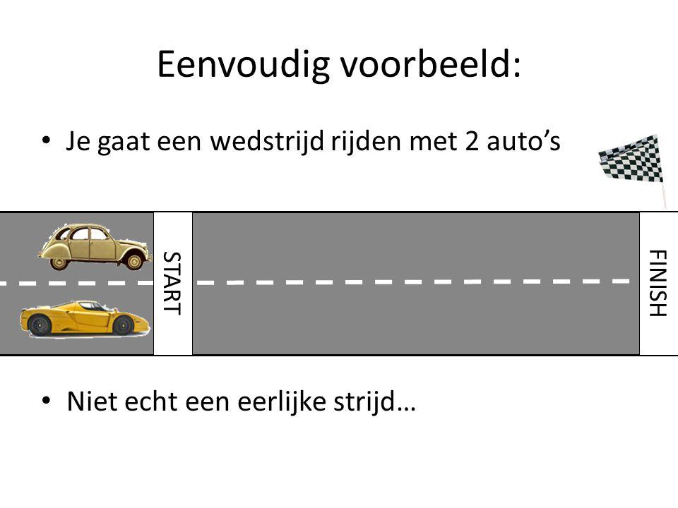 Eenvoudig voorbeeld: Je gaat een wedstrijd rijden met 2 auto's
