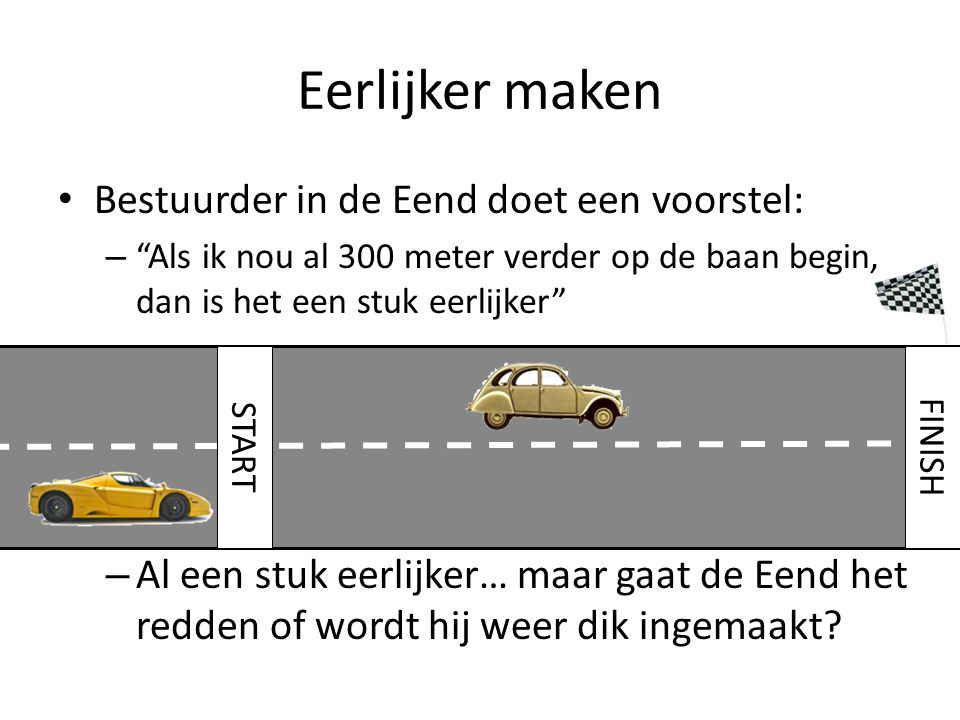 Eerlijker maken Bestuurder in de Eend doet een voorstel: