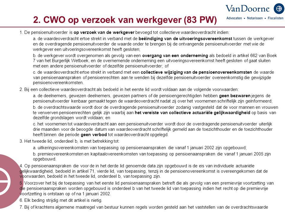 2. CWO op verzoek van werkgever (83 PW)